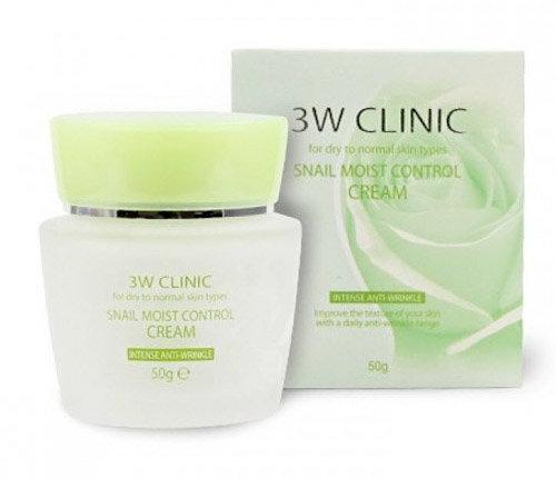 Крем для лица увлажняющий УЛИТОЧНЫЙ МУЦИН «3W CLINIC» Snail Moist Control Cream, Корея, 50 гр