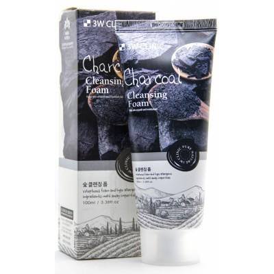 Пенка для умывания натуральная УГОЛЬ «3W CLINIC» Charcoal Cleansing Foam, Корея, 100 мл